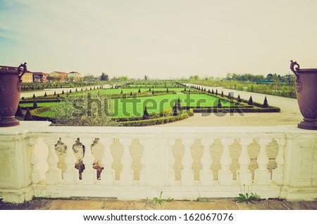 Reggia baroque royal palace in Venaria Reale Turin Italy vintage look - stock photo
