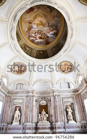 Reggia di Caserta (Caserta Royal Palaca), Italy. Luxury interior, more than 300 years old - stock photo