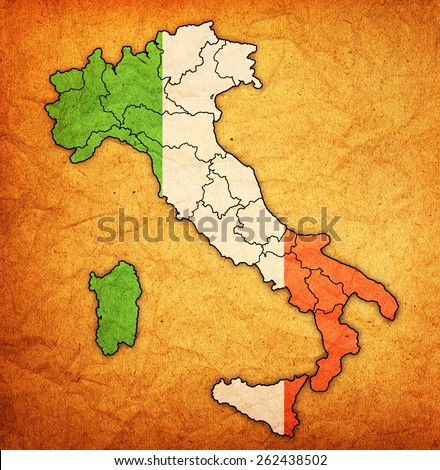 regions with borders on administration map of italy - stock photo