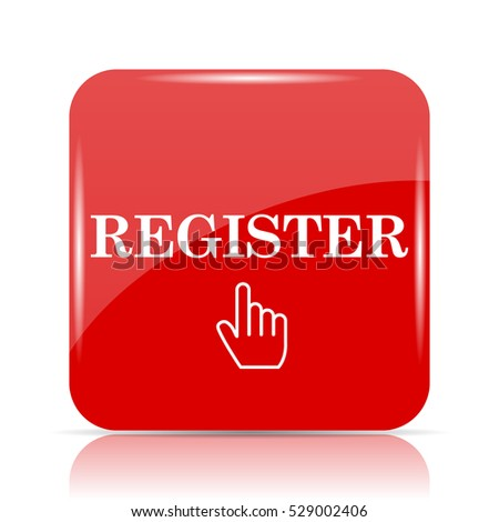 Register icon. Register website button on white background.