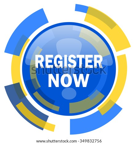register now blue yellow glossy web icon - stock photo