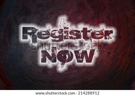 Register now concept text on background - stock photo