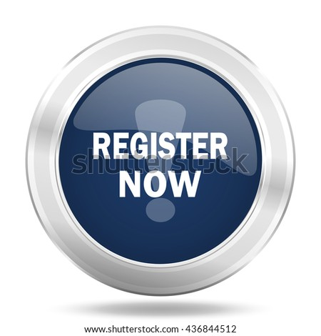 register now icon, dark blue round metallic internet button, web and mobile app illustration - stock photo