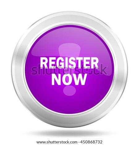 register now round glossy pink silver metallic icon, modern design web element - stock photo