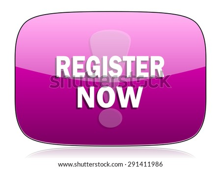 register now violet icon  original modern design for web and mobile app on white background with reflection  - stock photo