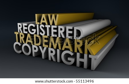 Registered and Copyright Trademark Law in 3d - stock photo