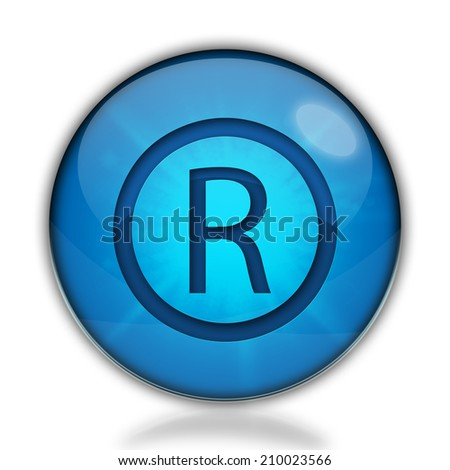 Registered mark icon. Internet blue button on white background.