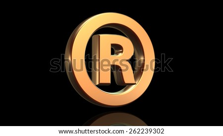 Registered mark symbol in gold isolated on black background - stock photo