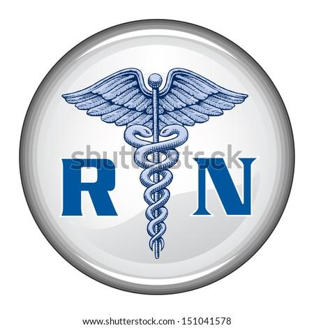 Registered Nurse Button Illustration Blue Registered Stock