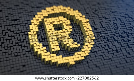 Registered symbol of the yellow square pixels on a black matrix background. Registered rights and trademarks concept. - stock photo