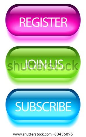 Registration buttons set - stock photo