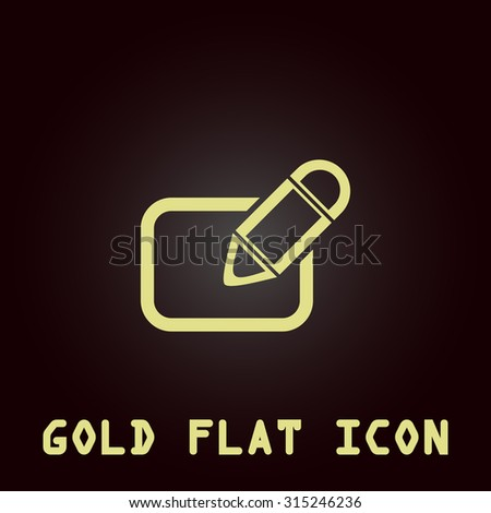 Registration. Gold flat icon. Symbol for web and mobile applications for use as logo, pictogram, infographic element - stock photo