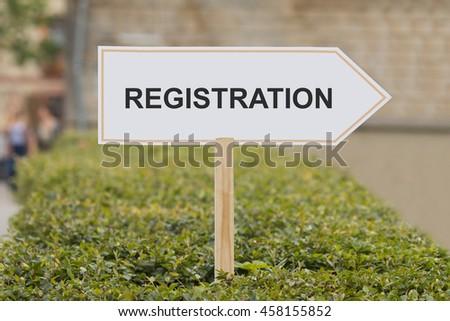 registration signpost - stock photo