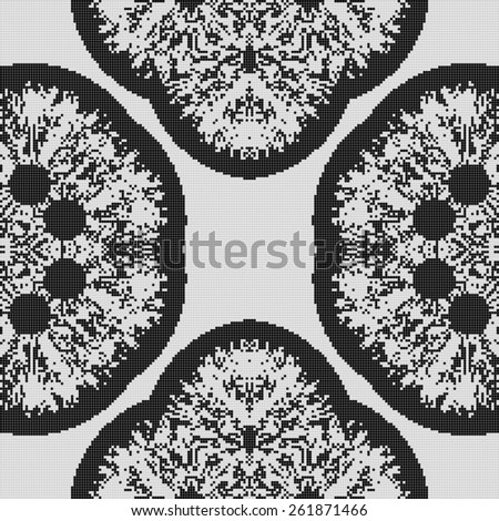Regular black and white curtain pattern aligned in square. Halftone rich pattern illustration. Abstract fractal black and white background.  - stock photo