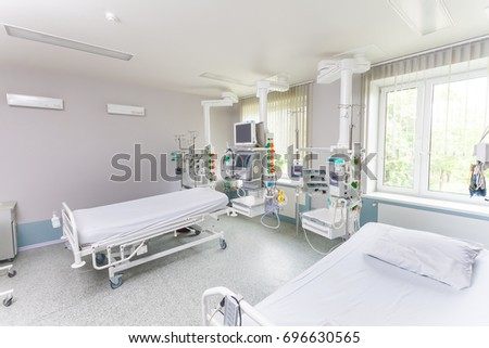 Rehabilitation room with equipment . Resuscitation chamber in municipal hospital.