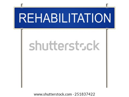 Rehabilitation. Traffic sign on a white background. Raster.  - stock photo