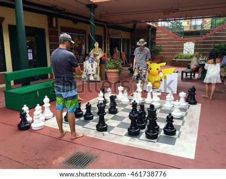 REHOBOTH BEACH, DE - JULY 31, 2016: A large chess board tucked away in a small alley in the heart of Rehoboth Beach.