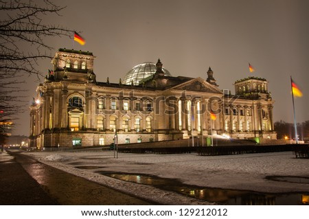 Reichstag in Berlin at night - stock photo