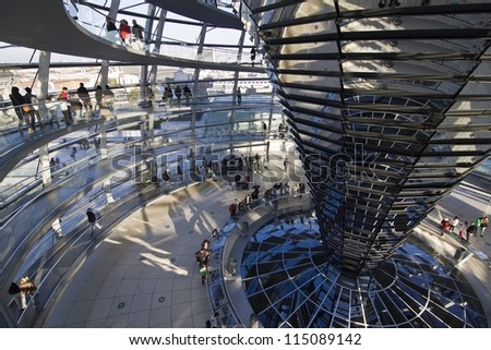 Reichstag - parliament building, inside the glass dome. Berlin, Germany - stock photo
