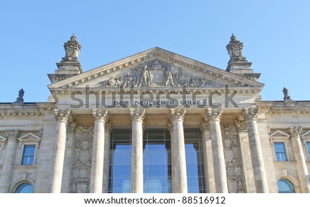 Reichstag (The German Parliament) in Berlin Germany