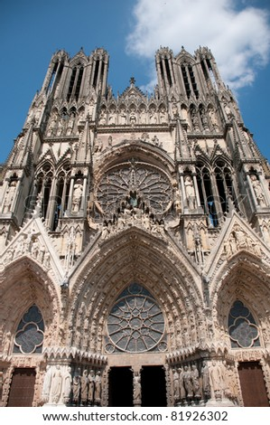 Reims cathedral, Champagne region France - stock photo
