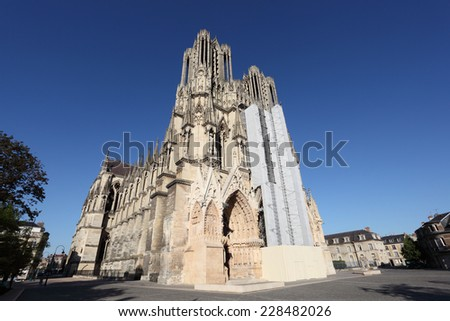 Reims Cathedral in Champagne region, France - stock photo