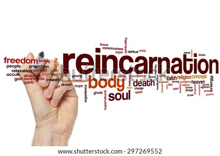 Reincarnation word cloud concept with body soul related tags - stock photo