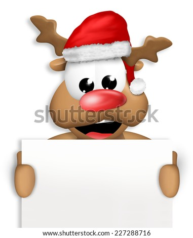 Reindeer Carton Happy with Christmas Hat blank board - stock photo