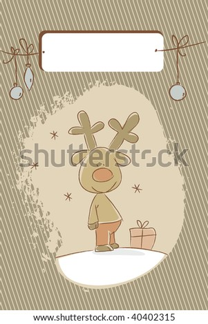 reindeer christmas holiday card, free label for your text - stock photo