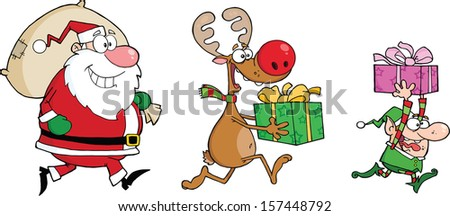 Reindeer, Elf  And Santa Claus Carrying Christmas Presents. Raster Illustration - stock photo