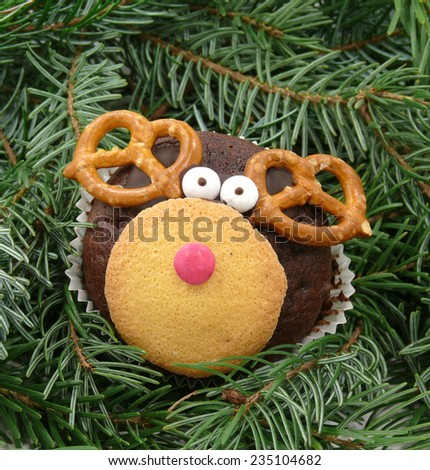 reindeer-muffins - stock photo