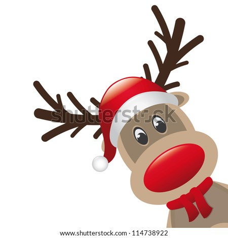 reindeer red nose scarf santa claus hat - stock photo