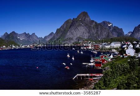 Reine, fishing village at Lofoten Norway - stock photo