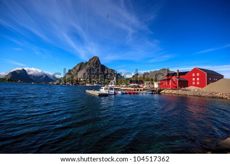 Reine is the administrative centre of Moskenes, located on the northern coast of Norway, above the Arctic Circle. - stock photo