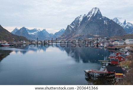 REINE,NORWAY - MARCH 2:Reine on march 2nd,2014.It is a fishing village and the administrative centre of the municipality of Moskenes,Norway.It is located on the island of Moskenes�¸ya in the Lofoten.