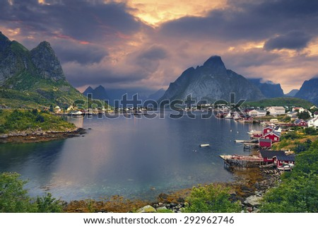 Reine, Norway. Scenic town of Reine by the fjord on Lofoten Islands in Norway. - stock photo