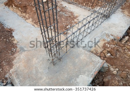 Reinforce steel rod beam pillar construction stock photo for Post and pillar foundation