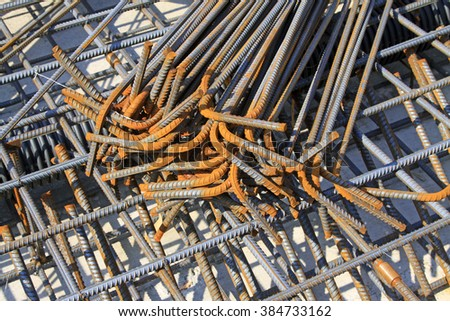 Reinforced concrete casting framework, in the construction site - stock photo