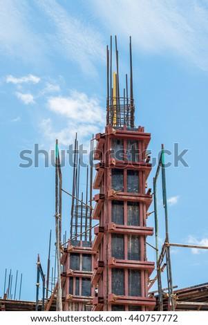 reinforced concrete columns - stock photo