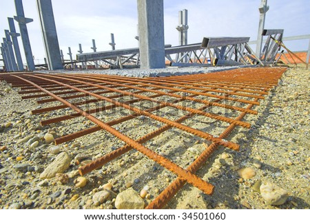 Reinforced structure prepared for concrete pouring at the building site