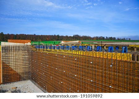 Reinforcement and formwork at construction site