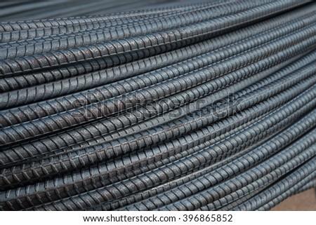 Reinforcing steel bar used in construction - stock photo