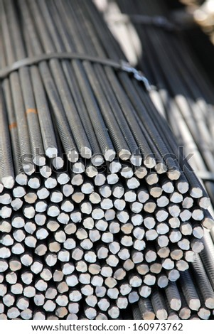 Reinforcing steel bars for building armature - stock photo
