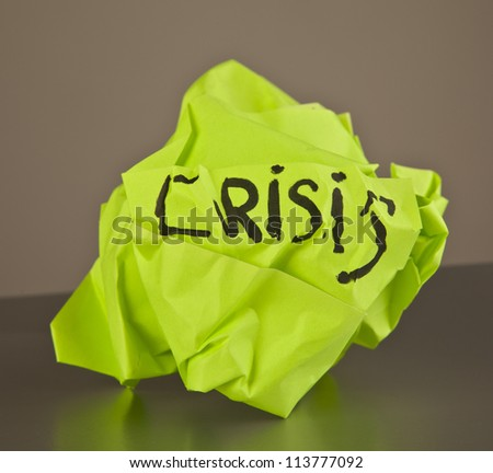 Rejected idea crisis concept with green paper - stock photo
