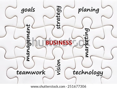 Related business words on jigsaw puzzle background, success in b - stock photo