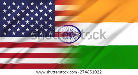 Relations between countries. USA and India.  - stock photo