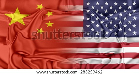 Relations between two countries. USA and China - stock photo