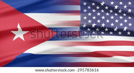Relations between two countries. USA and Cuba. - stock photo