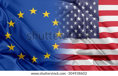 Relations between two countries. USA and Europe - stock photo