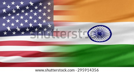 Relations between two countries. USA and India. - stock photo